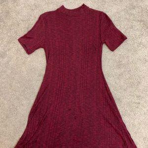 Mock neck pullover maroon mini dress size small